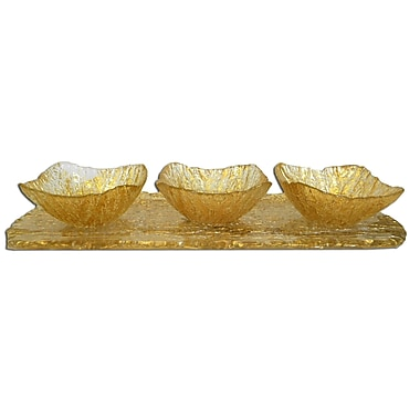 ClassicTouch Trophy 3 Bowl Relish Dish