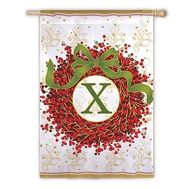 Evergreen Enterprises, Inc Holiday Monogram 2-Sided Garden Flag; X