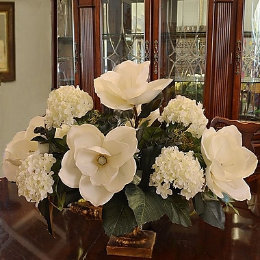 Floral Home Decor Magnolia and Hydrangea Large Silk Centerpiece