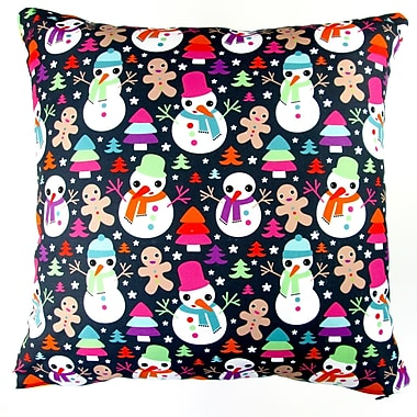 Artisan Pillows Christmas Snow Man and Ginger Bread Throw Pillow Cover