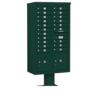 Salsbury Industries 20 Door Front Load 4C Horizontal Cluster Box Unit w/ 2 Parcel Lockers; Green