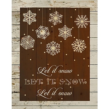 HadleyHouseCo 'Let It Snow Christmas Pallet Sign' Textual Art on Wood in Brown