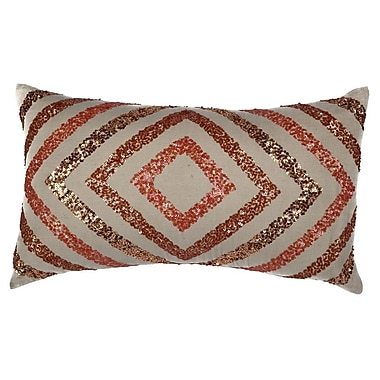 A1 Home Collections LLC Geometric Sequinwork Cotton Throw Pillow