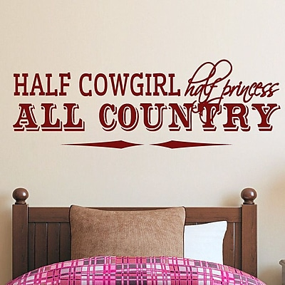 SweetumsWallDecals Half Cowgirl Wall Decal; Cranberry