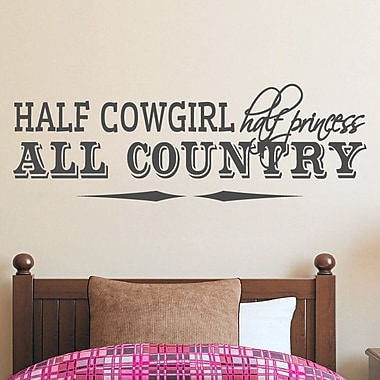 SweetumsWallDecals Half Cowgirl Wall Decal; Dark Gray