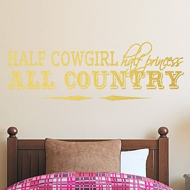 SweetumsWallDecals Half Cowgirl Wall Decal; Gold