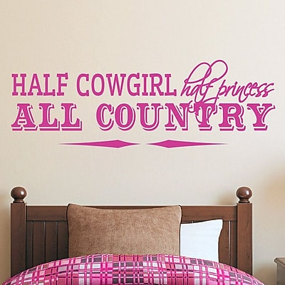 SweetumsWallDecals Half Cowgirl Wall Decal; Hot Pink