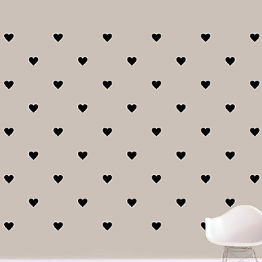 SweetumsWallDecals Hearts Wall Decal; Black