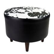 Sole Designs Sophia Cow-Hide Ottoman; Black
