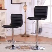 Roundhill Furniture Adjustable Height Swivel Bar Stools w/ Cushion (Set of 2)