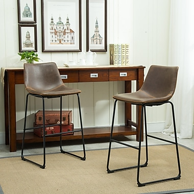 Roundhill Furniture Lotusville 30.31'' Bar Stool w/ Cushion (Set of 2); Antique Brown