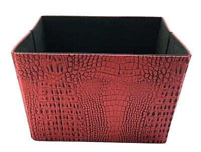Red Pomegranate Crock Faux Leather Collapsible Cube; Red