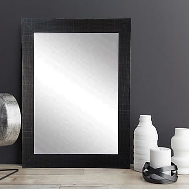 American Value Etched Black Vanity Wall Mirror; 35.5'' H x 32'' W x 0.75'' D