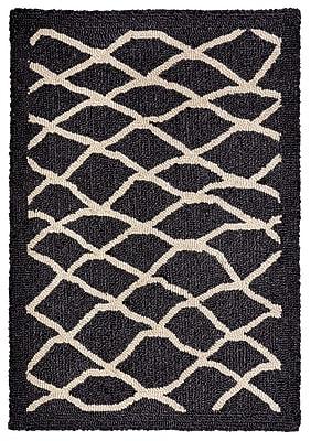Highland Dunes Bogard Hand-Tufted Charcoal Indoor/Outdoor Area Rug; 5' x 7'6''