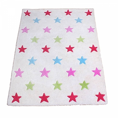 Baby Face Star Hand-Tufted White Kids Rug