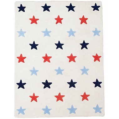 Baby Face Stars Hand-Tufted Red/Blue Kids Rug