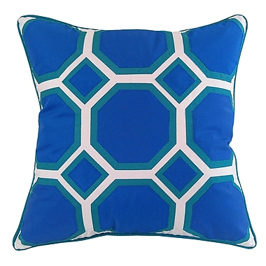 Edie Inc. Honeycomb Indoor/Outdoor Throw Pillow; Royal/Turquoise