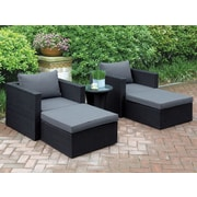 A&J Homes Studio Welter 5 Piece Patio Lounge Seating Group w/ Cushions; Black
