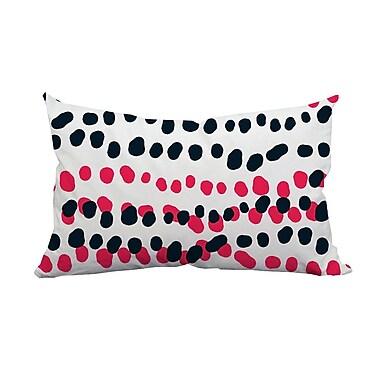 SafiyaJamila Connect the Polka Dots Indoor/Outdoor Lumbar Pillow; Pink