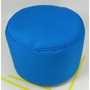 lava Sunbrella Round Pouf Ottoman; Pacific Blue