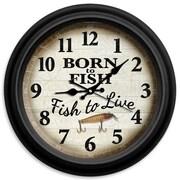 ReflectiveArt Classic Wildlife 16'' Born to Fish Wall Clock