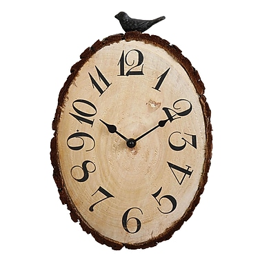 Creative Co-Op Secret Garden Fir Wood Sliced Wall Clock