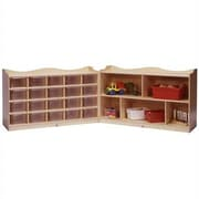 Steffy Scalloped Folding 25 Compartment Shelving Unit w/ Casters; Clear