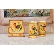 ABCHomeCollection 3 Piece Bamboo Rooster Ceramic Salt and Pepper Napkin Set