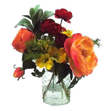 Creative Branch Faux Mixed Garden Floral Arrangement in Decorative Vase