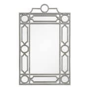 Mirror Image Home Mid Century Mirror; Distressed Silver Leaf
