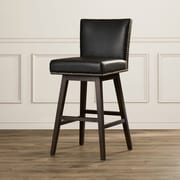 Sunpan Modern West Vintage 30'' Swivel Bar Stool w/ Cushion; Black