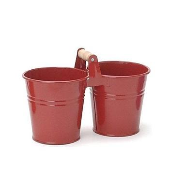 Houston International Galvanized Steel Pot Planter; Red