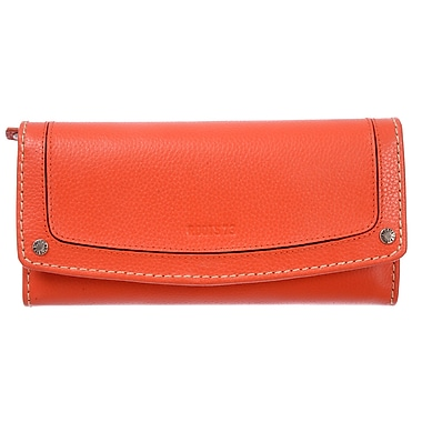 Roots Clutch Wallet with Check Book and Removable Check Section, Orange