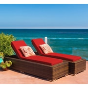 Ohana Depot Ohana Chaise Lounge w/ Cushion (Set of 2); Sunbrella Jockey Red