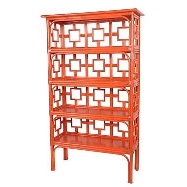 David Francis Furniture Sobe 71'' Accent Shelves Bookcase; Citrus Orange