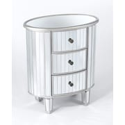 Wildon Home   Oval Mirrored 3 Drawer Chest