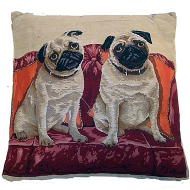Elegant Decor Tapestry Pug Throw Pillow