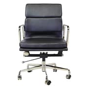 C2A Designs Lark Mid Back Leather Desk Chair; Black