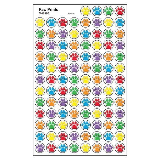 Trend Enterprises, Inc. SuperSpots® Paw Prints Stickers, Multicolor, 800/Pkg