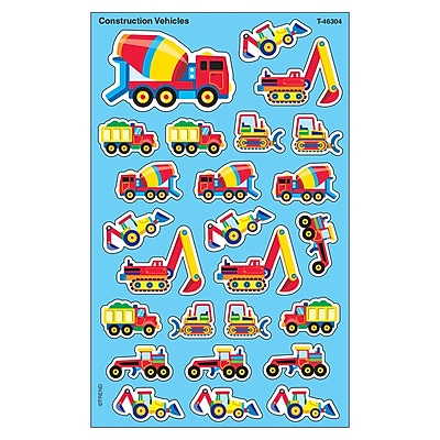Trend Enterprises® SuperShapes Stickers, Construction Vehicles
