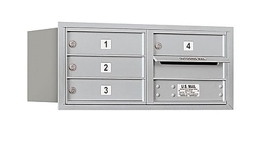 Salsbury Industries 4 Door Rear Load 4C Horizontal Mail Center; Aluminum