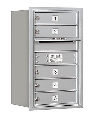 Salsbury Industries 5 Door Rear Load 4C Horizontal Mail Center; Aluminum