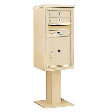 Salsbury Industries 2 Door Front Load 4C Horizontal Cluster Box Unit w/ 1 Parcel Locker; Sandstone