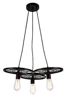 CrystalWorld Ravi 3-Light Cluster Pendant; Black
