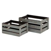UMA Enterprises Wood 2 Piece Crates Set; Grey Hue