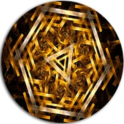 DesignArt Abstract Round 'Fractal 3D Yellowish Hexagon' Graphic Art Print on Metal
