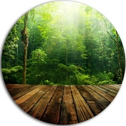 DesignArt 'Green Forest w/ Ray of Light' Photographic Print on Metal; 11'' H x 11'' W x 1'' D