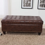 NOYA USA Castilian Upholstered Storage Bedroom Bench; Espresso