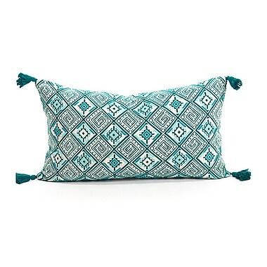 Ara Collective Nahuala Cotton Lumbar Pillow; Emerald