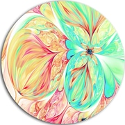 DesignArt Floral Disc 'Red Green Paper Flower' Graphic Art on Metal; 11'' H x 11'' W x 1'' D